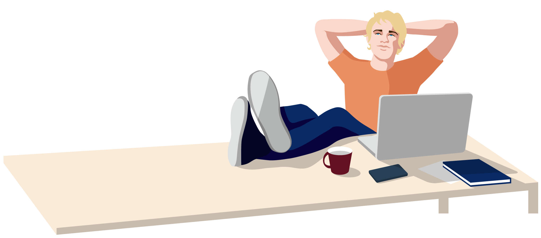 Relaxes freelancer at his desk